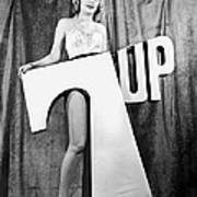 Woman With 7 Up Logo Art Print