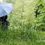 Woman With A Blue Umbrella Art Print