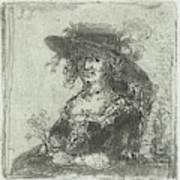 Woman With Hat, Print Maker Jan Chalon Art Print