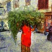 Woman With Ker Leaves India Rajasthan Jaisalmer Art Print