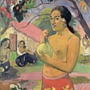 Woman With Mango Art Print