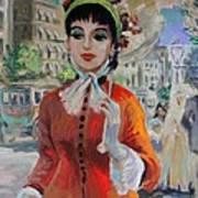 Woman With Parasol In Paris Art Print by Karon Melillo DeVega