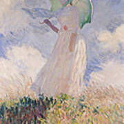 Woman With Parasol Turned To The Left Art Print