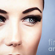 Woman With Stylish Makeup Art Print