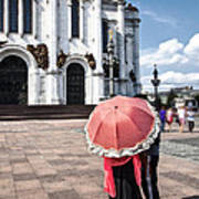 Woman With Umbrella - Moscow - Russia Art Print