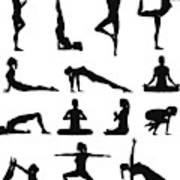 Woman yoga silhouettes Art Print