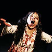 Woman zombie walks at night Art Print
