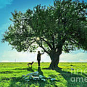 women and dog and Beautiful Greens Print by Boon Mee
