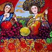 Women fruit and music Art Print