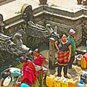 Women Get Bagmati River Holy Water From Ornate Fountains In Patan Durbar Square In Lalitpur-nepal  Art Print