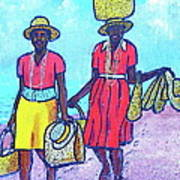 Women On Beach At Grenada Art Print