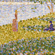 Women On The River Bank Art Print by Georges Pierre Seurat