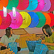Women Working Together At Borsang Umbrella And Paper Factory In Chiang Mai-thailand Art Print