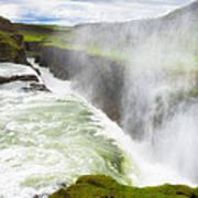 Wonderful Waterfall Gullfoss In South Iceland Art Print