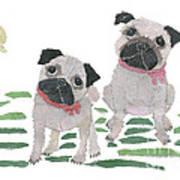 Pug Art Hand-torn Newspaper Collage Art By Keiko Suzuki Bless Hue Art Print