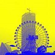 Wonderwheel In Blue And Yellow Art Print