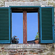Wood Brown Window With Green Shutters Of Tuscany Art Print