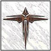 Wood Steel Cross Art Print