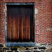 Wood Window Brick Wall Art Print