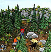 Woodcutters And Black Lab Art Print