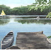 Wooded Lake Watercolor Portrait Art Print