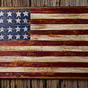 Wooden American Flag On Wood Wall Art Print