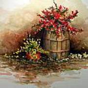 Wooden Barrel With Flowers Art Print