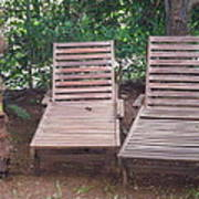 Wooden Beach Chairs Art Print