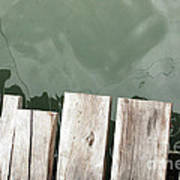 Wooden Board Against Sea Surface Art Print