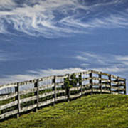 Wooden Farm Fence On Crest Of A Hill Art Print