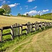 Wooden Fence In Green Landscape Art Print