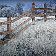 Wooden Fence Of A Friesian Horse Pasture On Windmill Island Art Print