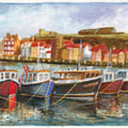 Wooden Fishing Boats In The Whitby Fleet Of Northern England Art Print