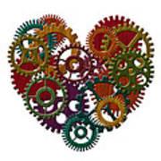 Wooden Gears Forming Heart Shape Illustration Art Print