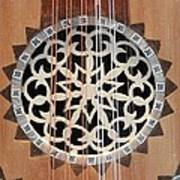 Wooden Guitar Inlay With Strings Art Print