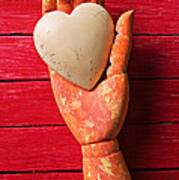 Wooden Hand With White Heart Art Print