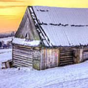 Wooden Hut In Sunset Art Print