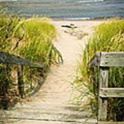 Wooden Stairs Over Dunes At Beach Art Print