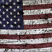 Wooden Textured U. S. A. Flag Art Print