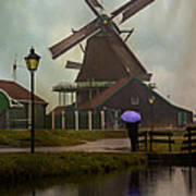 Wooden Windmill In Holland Art Print