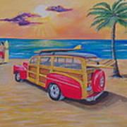 Woody on the beach Art Print