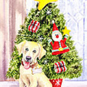 Woof Merry Christmas Art Print
