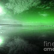 Woolacombe Beach In Green  Art Print