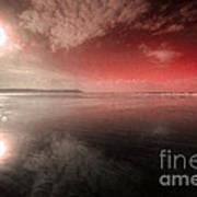 Woolacombe Beach In Red  Art Print