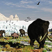 Woolly Mammoths And Woolly Rhinos In A Art Print