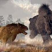 Woolly Rhino And Cave Lion Art Print