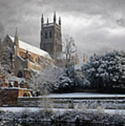Worcester Cathedral Cloudy Art Print