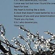 Words Of Love With Glittering Tree Stems Art Print