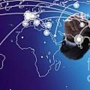 World Economies Map Art Print by Atiketta Sangasaeng