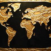 World in gold world map greeting card for sale by rick silas world in gold world map poster gumiabroncs Gallery